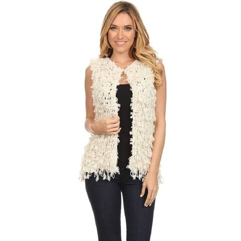 Women's Ivory Knit Spaghetti Casual Chunky Cardigan Vest