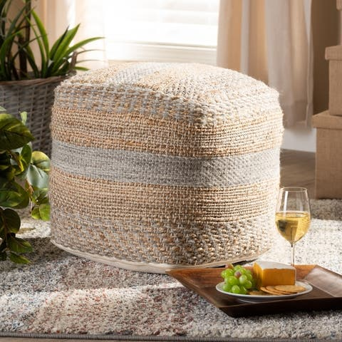 The Curated Nomad Koroh Moroccan Natural and Grey Hemp Pouf Ottoman