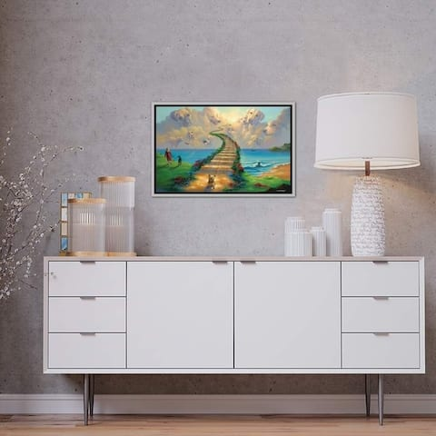 """iCanvas """"All Dogs Go to Heaven III"""" by Jim Warren Framed Canvas Print"""