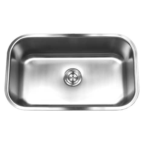 18 Gauge T-304 Stainless Steel Undermount 31-1/2 inch Single Bowl Kitchen Sink 10 Inch Deep