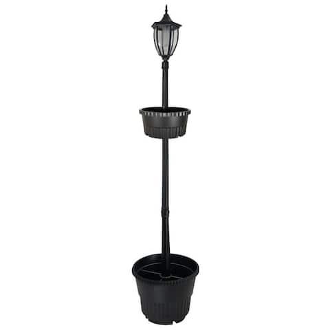 Sun-Ray Crestmont Solar Lamp Post and Dual Planter - Black