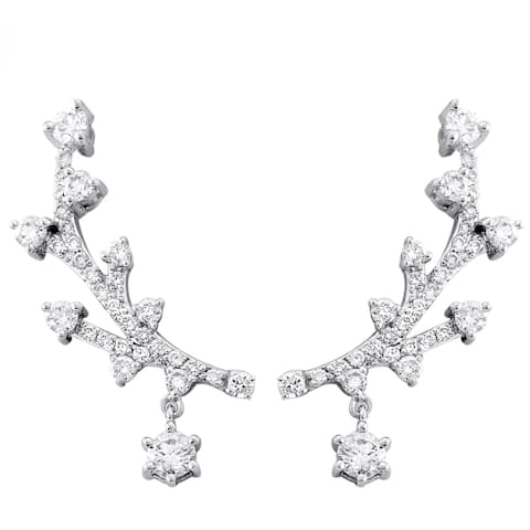14K White Gold 1 ct. TDW Diamonds Ear Climber Drop Earrings by Beverly Hills Charm
