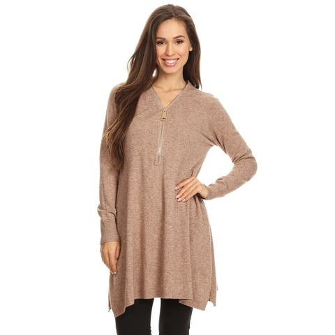 Women's Knit Taupe Zip-Up Long Sleeves Loose Fit Tunic Top