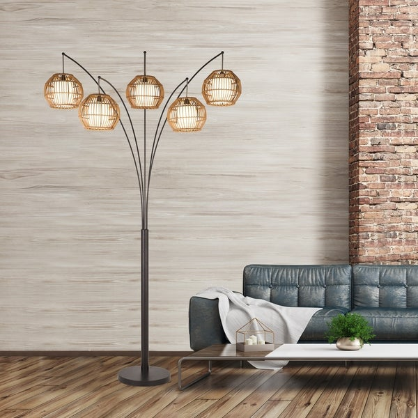 """Artiva Bali 88"""" Oil Rubbed Bronze LED Arc lamp w/ Hancrafted Rattan, Dimmer. Opens flyout."""