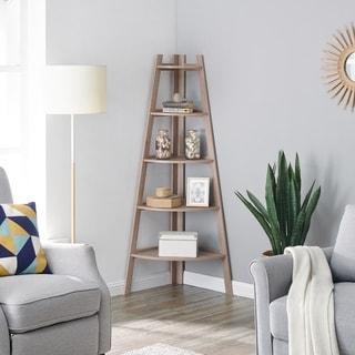Danya B. Free-Standing 5-Tier Pyramid Corner Ladder Display Shelves - Weathered Oak