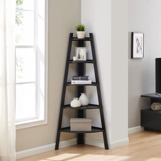 Danya B. Free-Standing 5-Tier Corner Ladder Display Shelves - Black