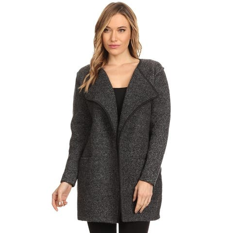Women's Thick Knit Loose Fit Open Front Cardigan with Zipper Details