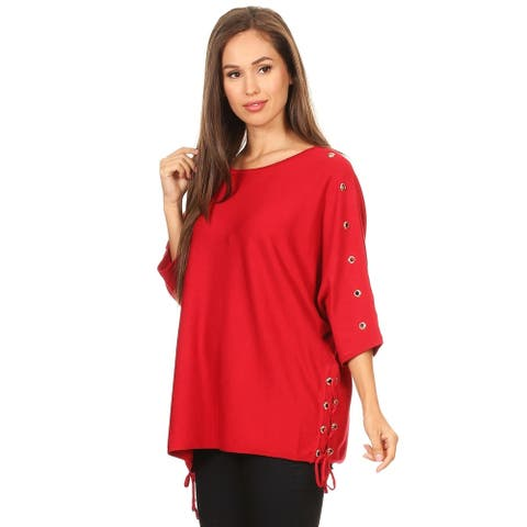 Women's Knit Short Sleeve Tunic Top with Eyelet Embellishments