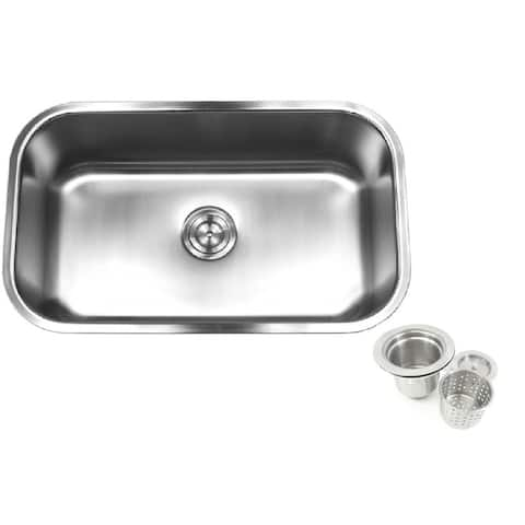 18 Gauge T-304 Stainless Steel Undermount 31-1/2 inch Single Bowl Kitchen Sink 10 Inch Deep with Deluxe Lift Out Strainer