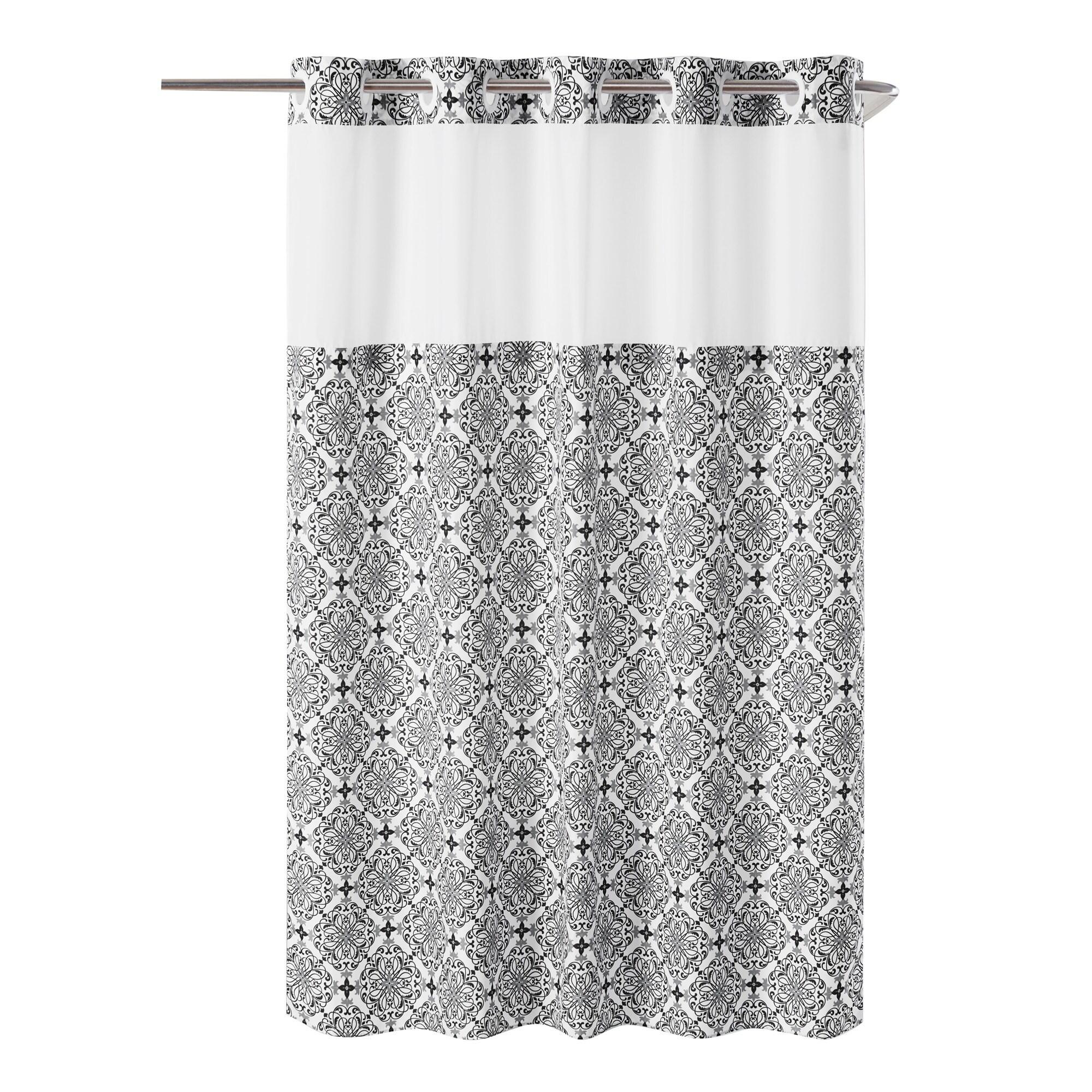 Porch Den Landmark Black Floral Trellis Hookless Shower Curtain With Peva Liner On Sale Overstock 28727945