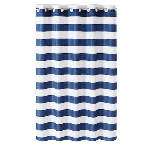 Hookless® Shower Curtain Cabana Stripe No Window with Liner - Navy