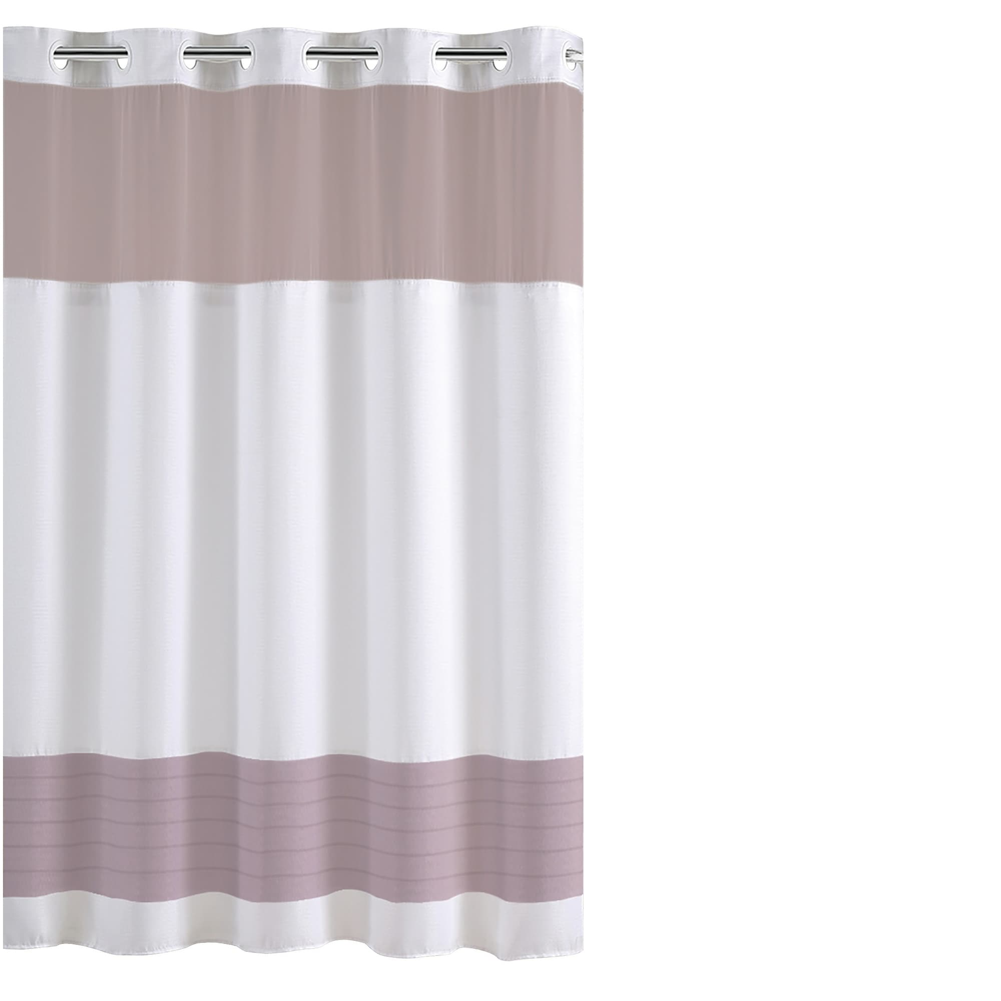 Shop Black Friday Deals On Hookless Color Block Shower Curtain With Fabric Liner Lavender Overstock 28727953