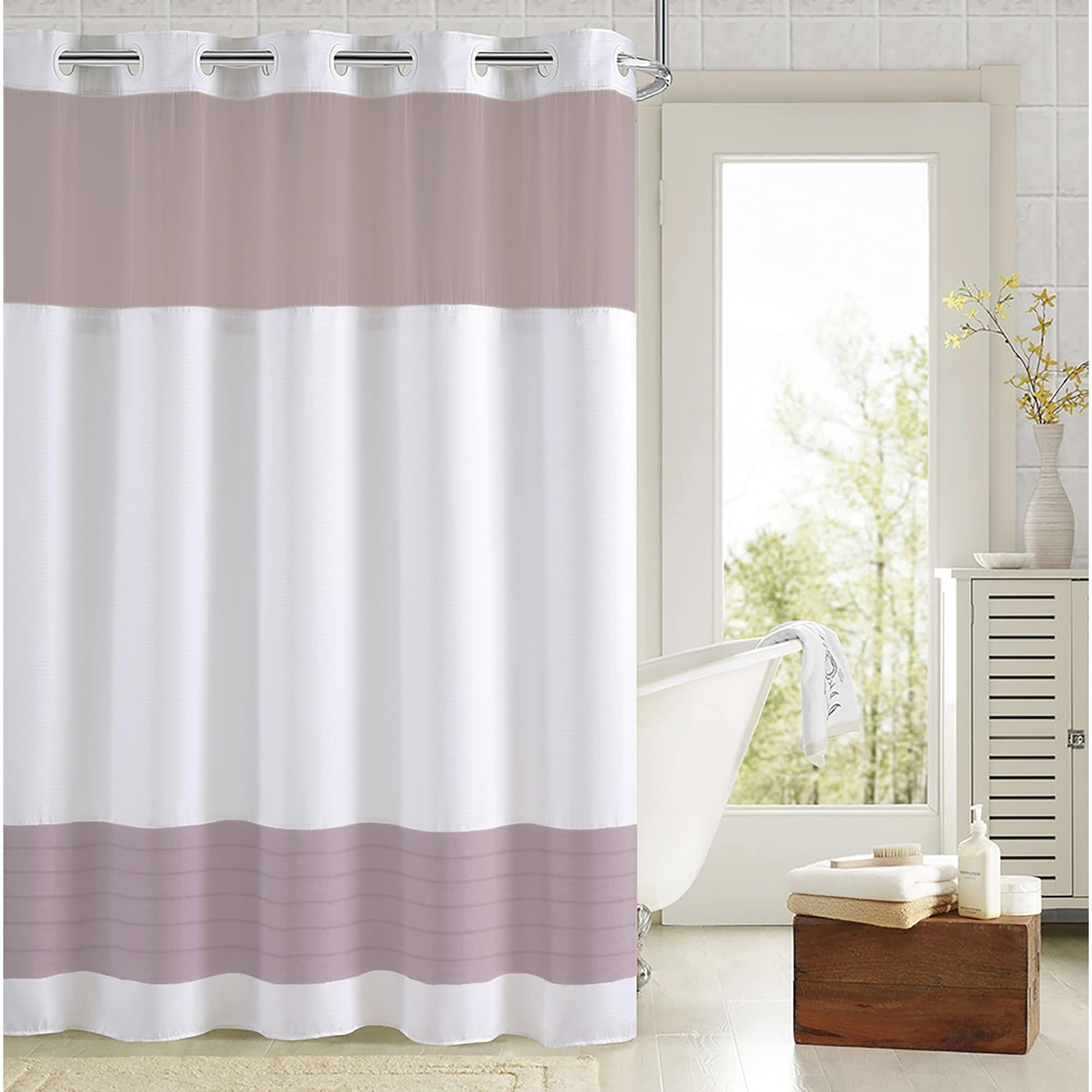 Hookless Color Block Shower Curtain With Fabric Liner Lavender