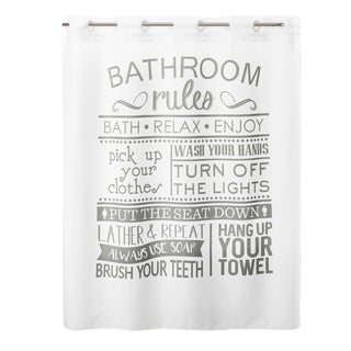 Link to Porch & Den Iroquois 'Bathroom Rules' Shower Curtain with Liner Similar Items in Shower Curtains