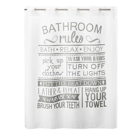 Hookless® Shower Curtain Bathroom Rules No Window with Liner - Multi