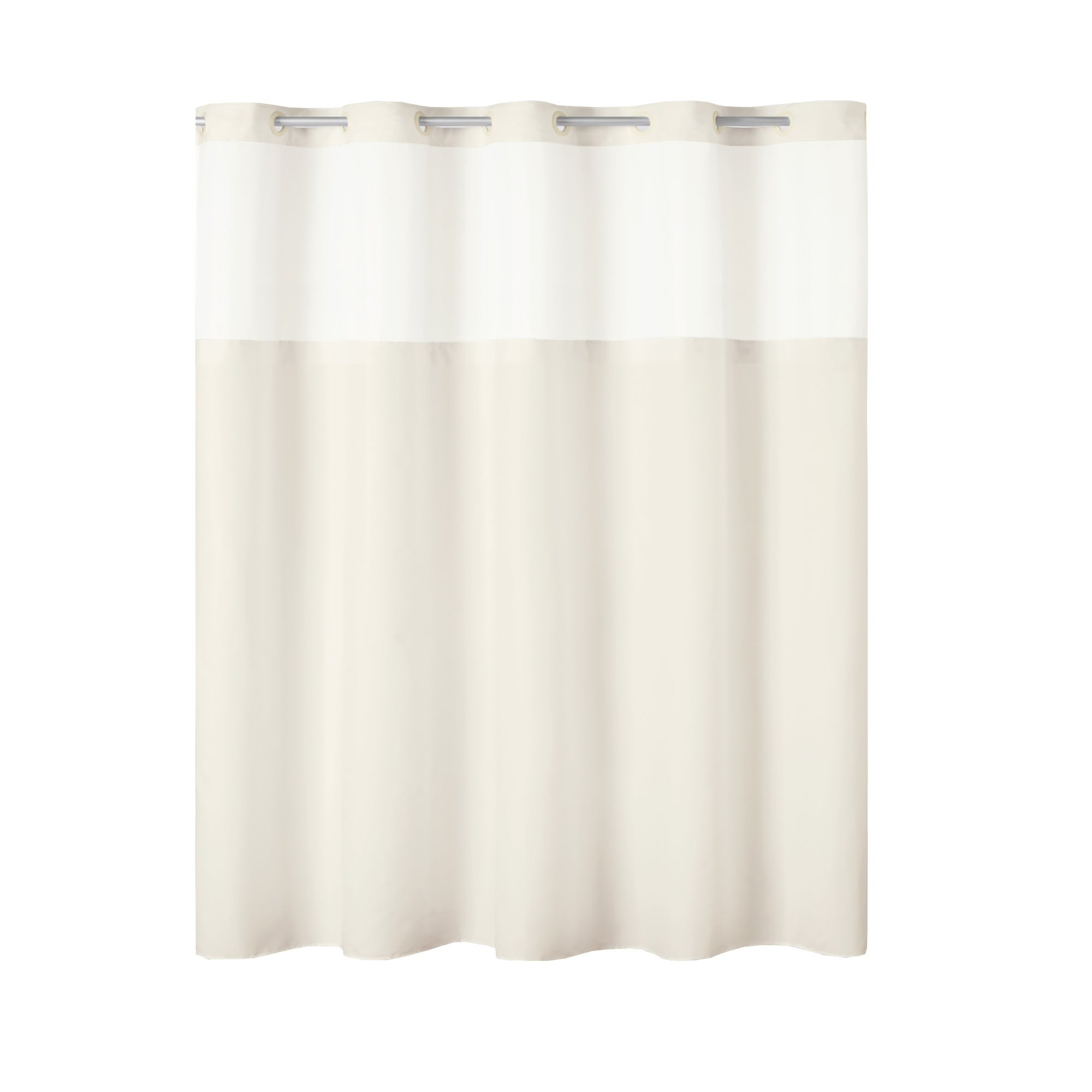 Hookless Antigo Plain Weave Shower Curtain With Fabric Liner Ivory