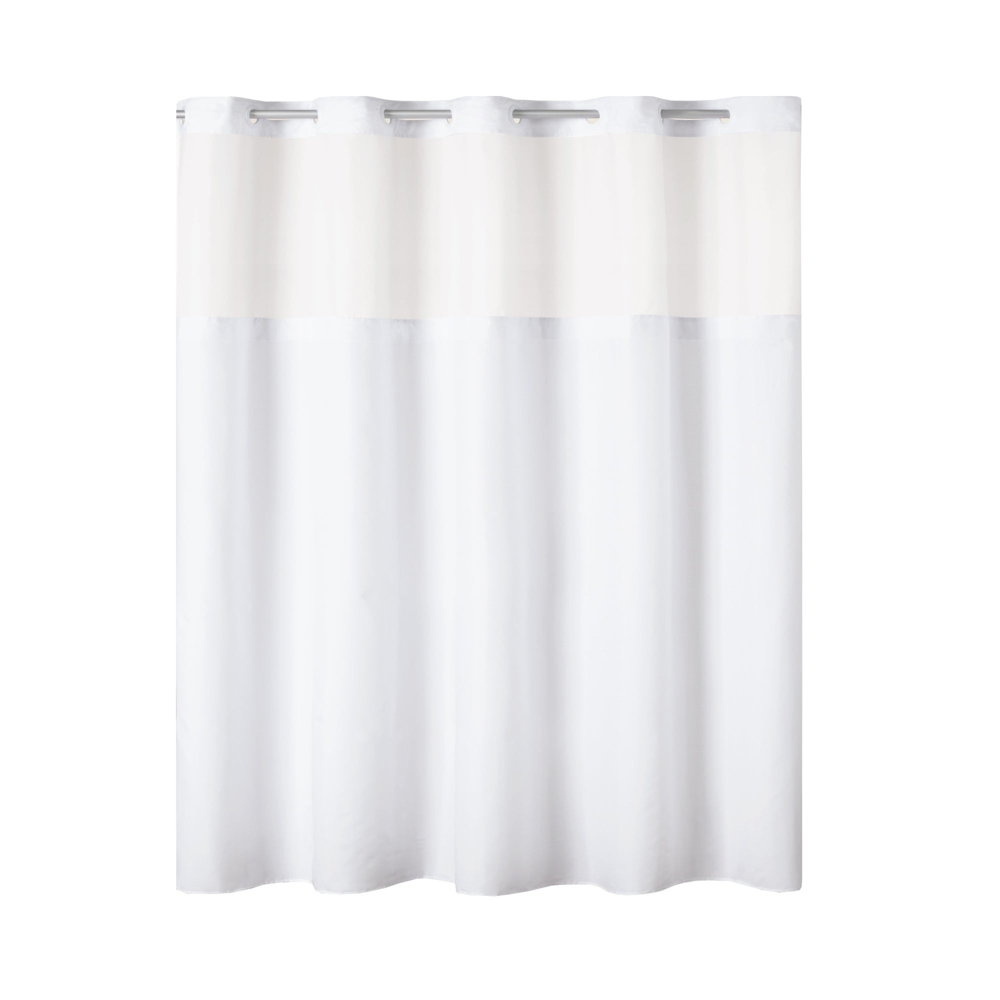 Hookless Snap In Fabric Liner for Shower Curtains White Polyester Machine Wash