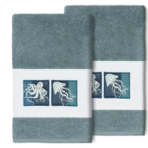 Authentic Hotel and Spa 100% Turkish Cotton AVA 2PC Embellished Hand Towel Set