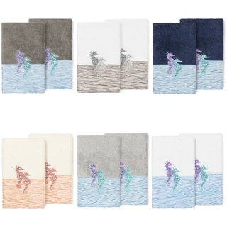 Link to Porch & Den Palmire Turkish Cotton Seahorse Embroidered Hand Towel (Set of 2) Similar Items in Towels