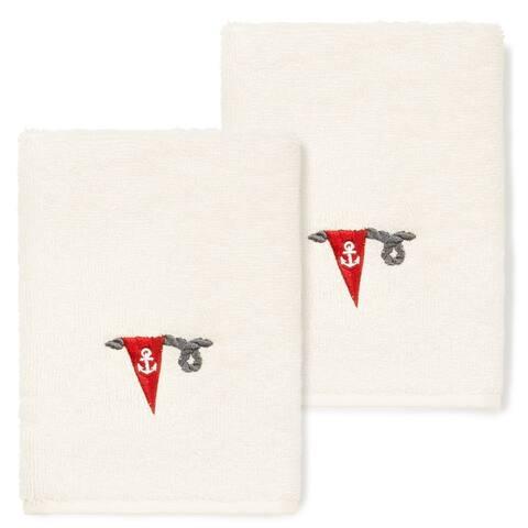 Authentic Hotel and Spa 100% Turkish Cotton Ethan 2PC Embellished Washcloth Set