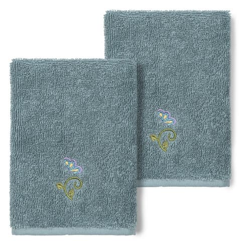 Authentic Hotel and Spa 100% Turkish Cotton Rebecca 2PC Embellished Washcloth Set