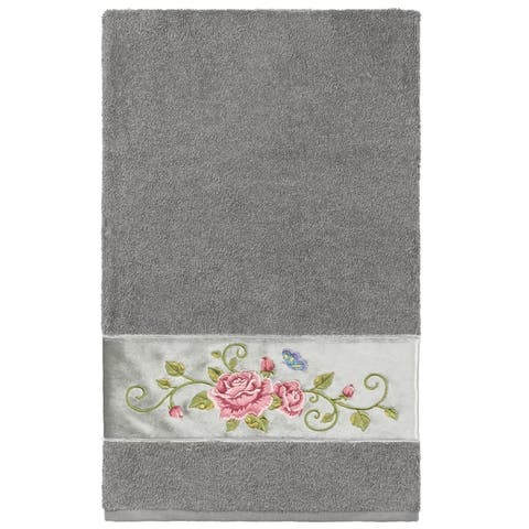 Authentic Hotel and Spa 100% Turkish Cotton Rebecca Embellished Bath Towel