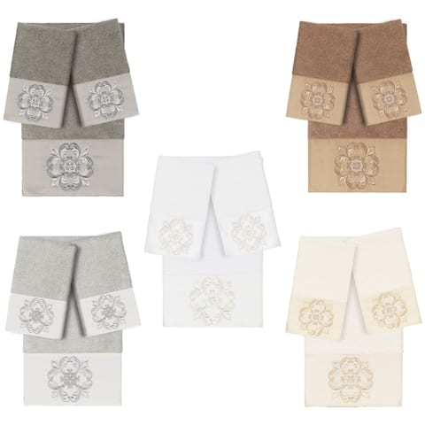 Authentic Hotel and Spa 100% Turkish Cotton Alyssa 3PC Embellished Towel Set
