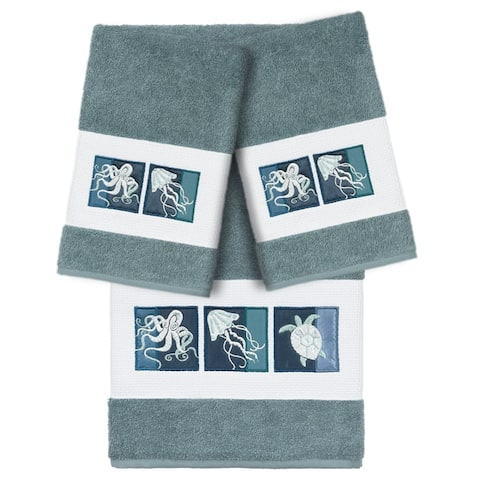 Authentic Hotel and Spa 100% Turkish Cotton Ava 3PC Embellished Towel Set