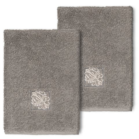 Authentic Hotel and Spa 100% Turkish Cotton Vivian 2PC Embellished Washcloth Set