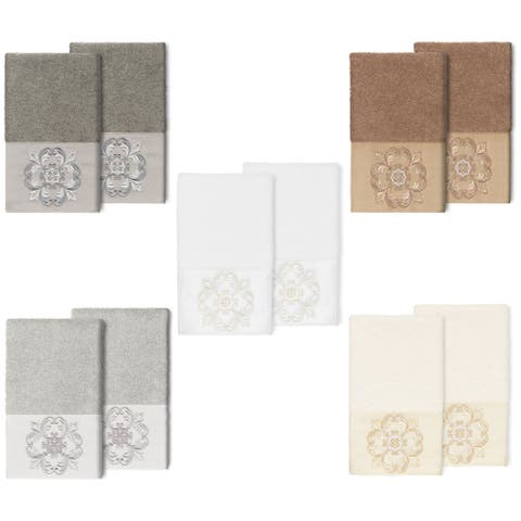 Authentic Hotel and Spa 100% Turkish Cotton Alyssa 2PC Embellished Hand Towel Set