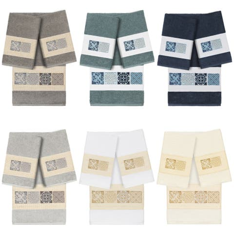 Authentic Hotel and Spa 100% Turkish Cotton Vivian 3PC Embellished Towel Set