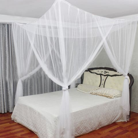 4 Corner Post Bed Canopy 50D Polyester Mosquito Flying Bugs Net Mesh Full Queen King Size Netting Bedding White