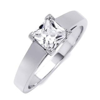 1 00 CT Princess Cut Solitaire Engagement Ring Sterling Silver