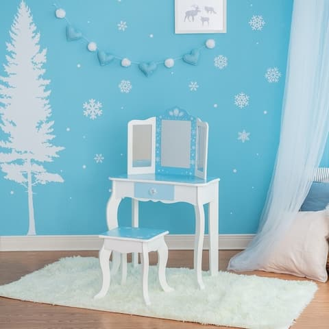 Teamson Kids - Fashion Snow Flake Prints Gisele Play Vanity Set - Icy Blue / White