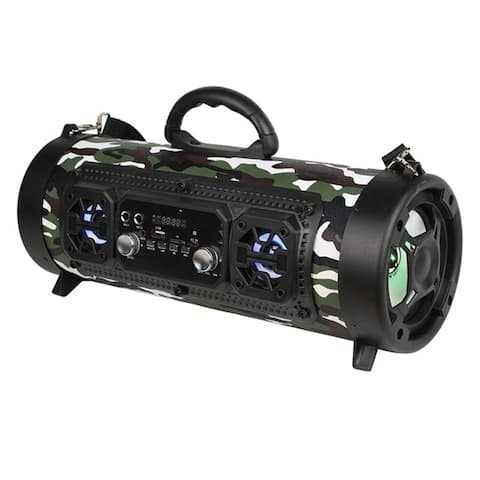 Bluetooth Boombox Street Blaster Stereo Barrel Speaker Portable Wireless Power FM Radio with LED Lights & Rechargeable Battery