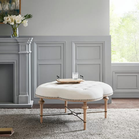 Madison Park Elisa Ivory Cocktail Ottoman