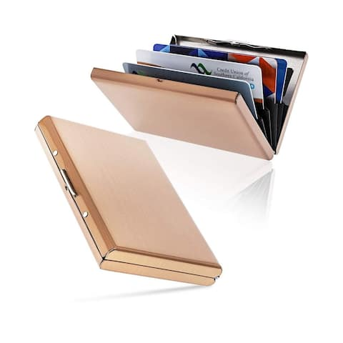 2-Pack Stainless Steel Metal RFID Credit Card Holder Wallet w/ 6 Slot, Rose Gold