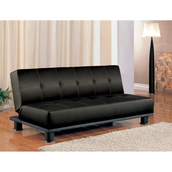 Shop Cora Contemporary Black Faux-leather Sofa Bed - Free Shipping ...