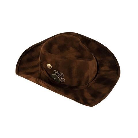 Dark Brown Felt Cowboy Hat, Steampunk Inspired Design Cowgirl Cap for Men Women