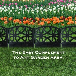 Fence Border Resin Garden Edging Set-12 Pack, 6.4 inch x 5.7 inch