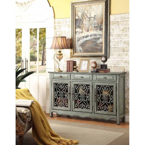 Orleans Antique Green Scroll Accent Cabinet