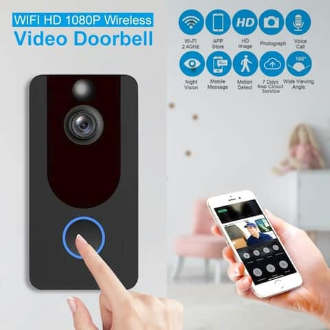 WiFi Wireless Smart Doorbell Visual Video Camera 1080p Intercom Remote Monitoring Alarm Intelligent Security Camera - Black