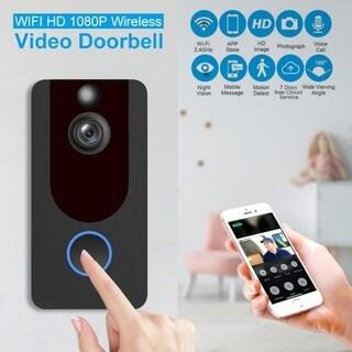 WiFi Wireless Smart Doorbell Visual Video Camera 1080p Intercom Remote Monitoring Alarm Intelligent Security Camera - Black