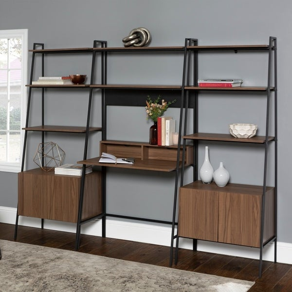 Office Accents 3 Piece Home Office Ladder Desk and Bookcase Set - Mocha