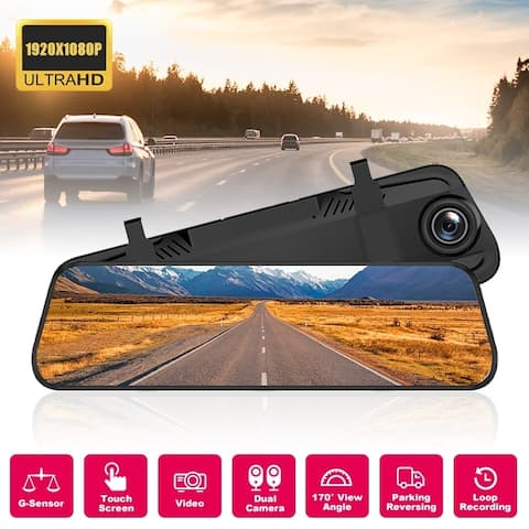 1080p DVR Dual Camera Rearview Backup Camera/ Parking Assist 10inch Night Vision Car Recorder Digital Mirror Recorder
