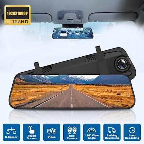 HD1080p DVR Car Dual Camera Rearview Mirror Camera Backup Camera Night Vision Recorder Digital Mirror Recorder