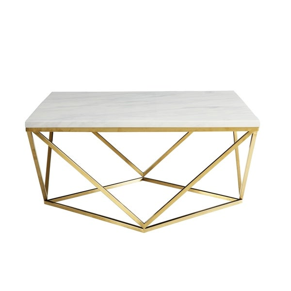 Overstock White Coffee Table.Orion White And Gold Coffee Table