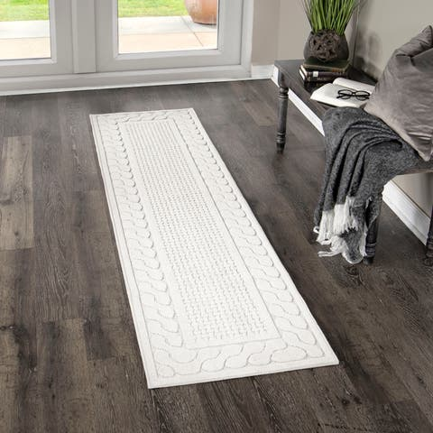 """My Texas House by Orian Indoor/Outdoor Picket Fences Natural Runner Rug - 1'11"""" x 7'6"""""""