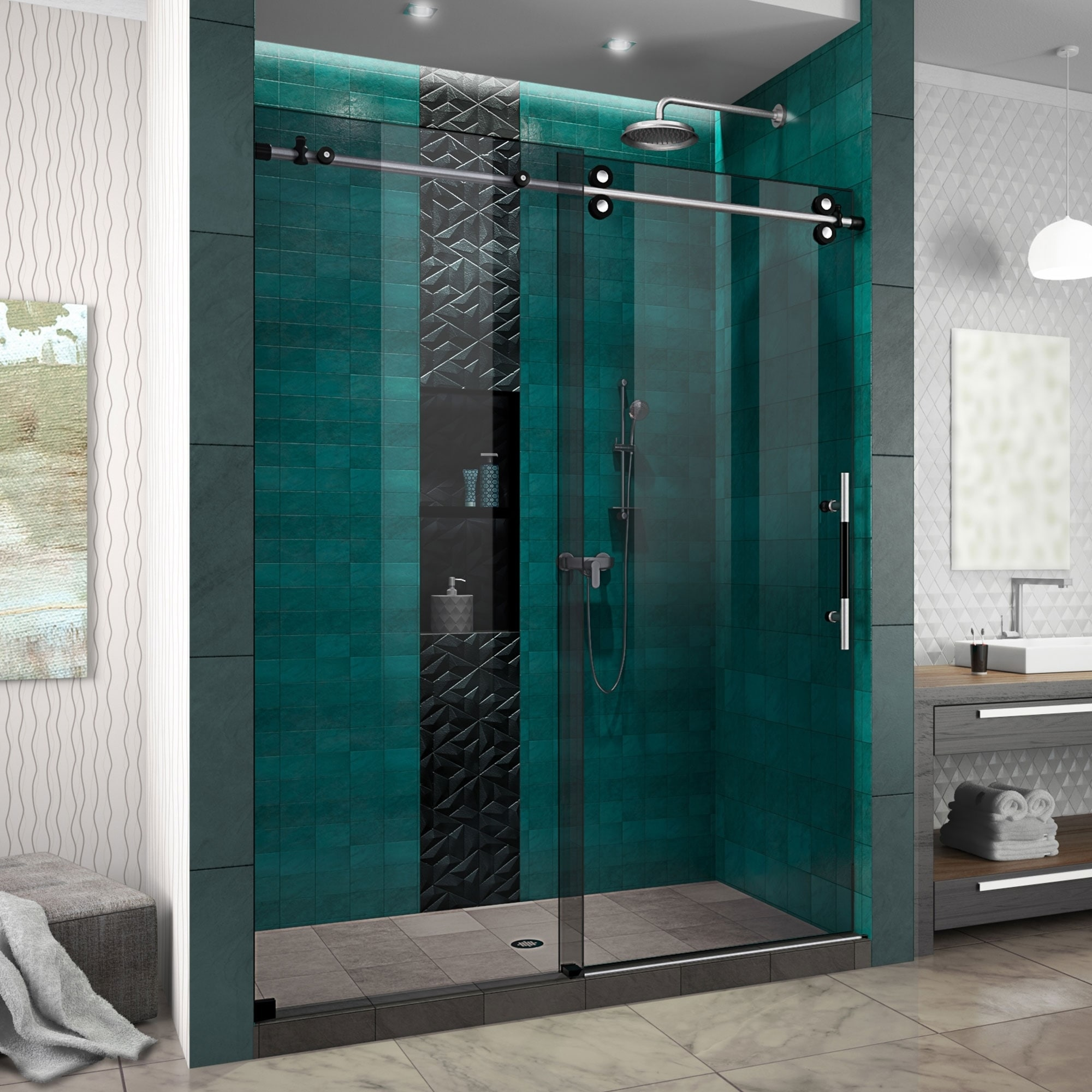 Dreamline Enigma Xo 56 60 In W X 76 In H Fully Frameless Sliding Shower Door Grey Glass 56 60 W