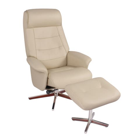Bowler Leather Recliner and Ottoman